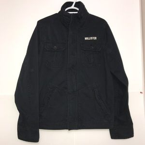 Hollister Black Cargo Army Casual Zip Up Jacket